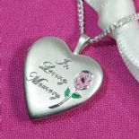 Memorial Locket Silver Heart, personalised ref. SHML2